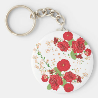 Red Roses and Poppies Ornament Basic Round Button Keychain