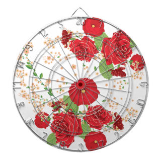 Red Roses and Poppies Ornament Dartboard