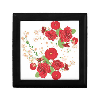 Red Roses and Poppies Ornament Gift Box