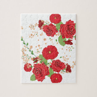 Red Roses and Poppies Ornament Jigsaw Puzzle