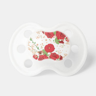 Red Roses and Poppies Ornament Pacifier