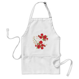 Red Roses and Poppies Ornament Standard Apron