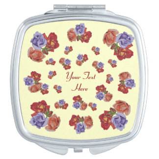 Red roses and rose buds original floral art design compact mirrors
