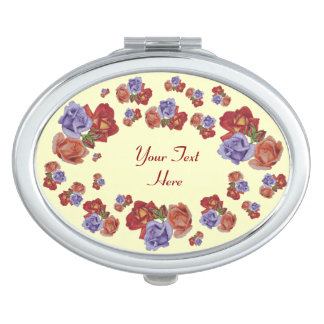 Red roses and rose buds original floral art design travel mirror