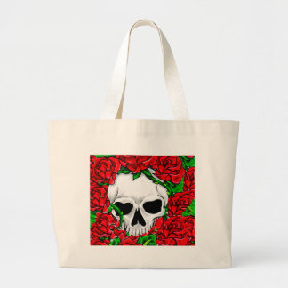 Red Roses and Skull Large Tote Bag