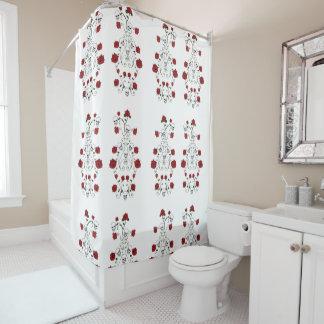 Red Roses and Skulls Shower Curtain Skull Art