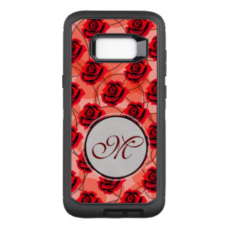 Red roses are amazing monogram on circle pattern OtterBox defender samsung galaxy s8+ case