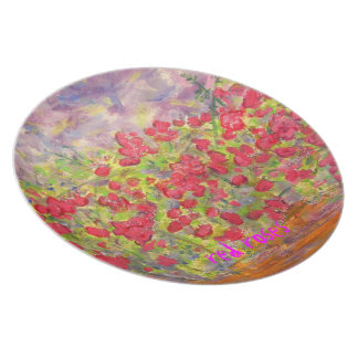red roses art party plates