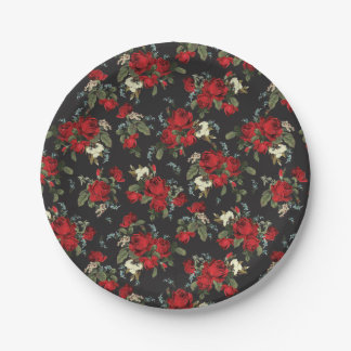 RED ROSES & BABY BREATH FLORAL PAPER PARTY PLATE