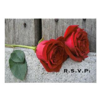 Red Roses & Barn Wood Wedding RSVP Custom Announcement
