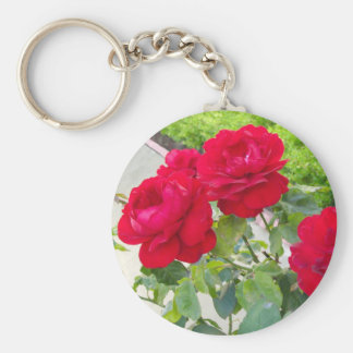 Red Roses Basic Round Button Keychain