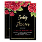Red Roses Black & Gold Glitter Baby Shower Card