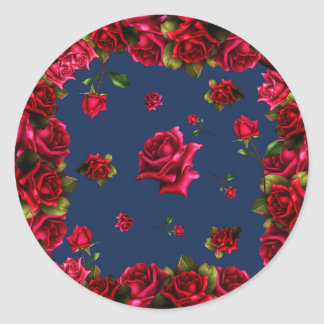 Red Roses Blue Shabby Chic Wedding Party Favor Classic Round Sticker