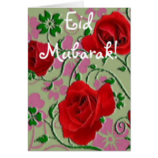 Red roses bouquet Eid Mubarak Card