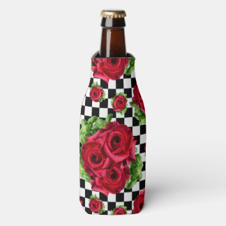 Red Roses Bouquet Floral Love Rockabilly Checkered Bottle Cooler