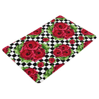 Red Roses Bouquet Floral Love Rockabilly Checkered Floor Mat