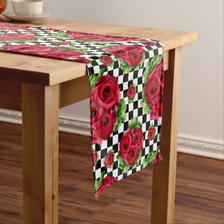 Red Roses Bouquet Floral Love Rockabilly Checkered Medium Table Runner