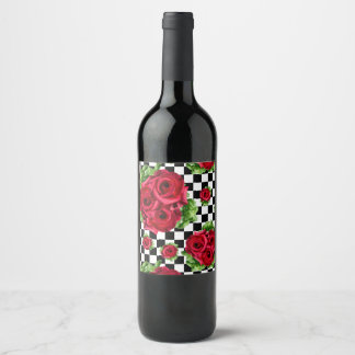 Red Roses Bouquet Floral Love Rockabilly Checkered Wine Label