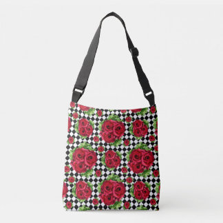 Red Roses Bouquet Floral Love Rockabilly Crossbody Bag