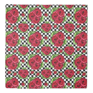 Red Roses Bouquet Floral Love Rockabilly Duvet Cover