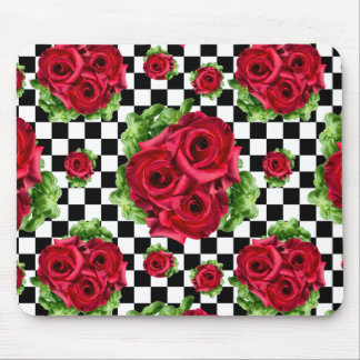 Red Roses Bouquet Floral Love Rockabilly Mouse Pad