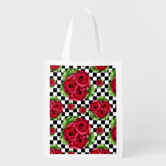 Red Roses Bouquet Floral Love Rockabilly Reusable Grocery Bag