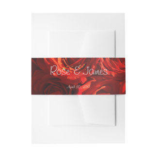 Red roses bouquet invitation belly band
