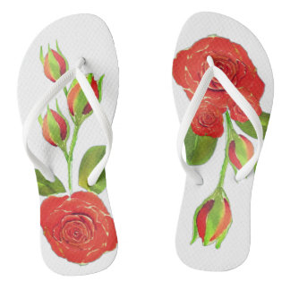 Red Roses Buds Floral Shower Shoes FlipFlops