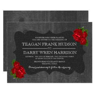Red Roses Burlap Wood Gothic Wedding Invites