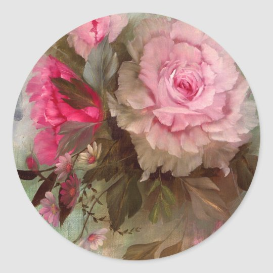 Red Roses Classic Round Sticker