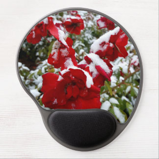 Red roses covered by snow and rime gel mouse pad