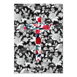 Red Roses Cross & Black and White Floral Pattern Card