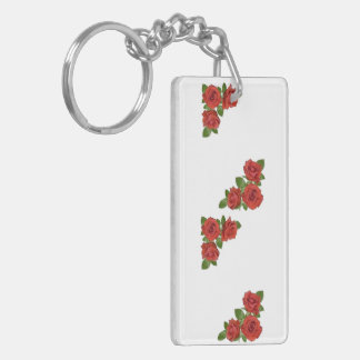 Red Roses Floral Design Keychain