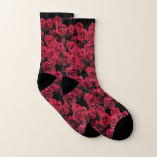 Red Roses Floral Socks 1