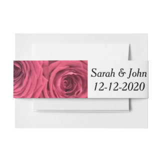 Red roses floral wedding belly band invitation belly band