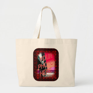 Red Roses Frame Template Large Tote Bag