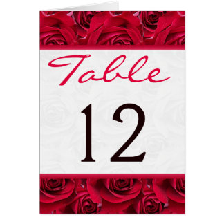 Red Roses Galore Table Number Card