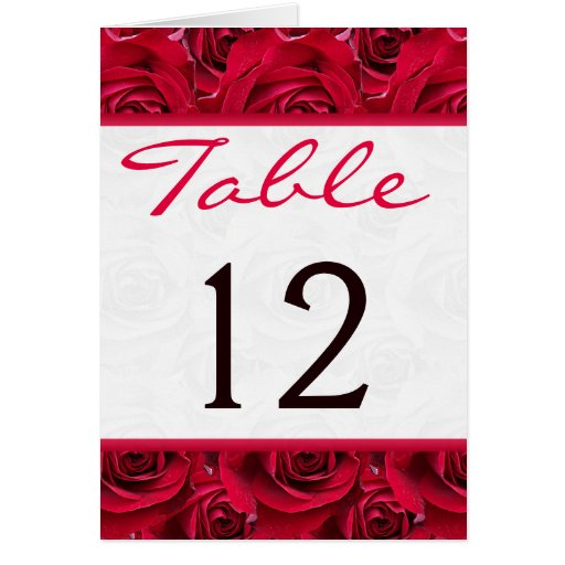 Red Roses Galore Table Number Card Greeting Cards
