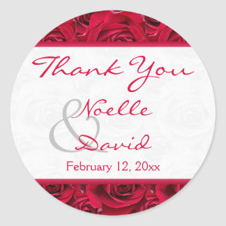 Red Roses Galore Wedding Favor Sticker