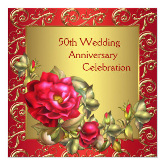 """Red Roses Gold 50th Wedding Anniversary 5.25"""" Square Invitation Card"""