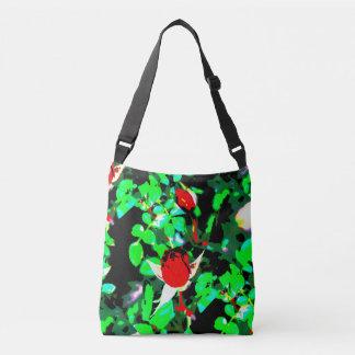 red roses green crossbody bag