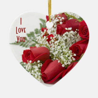 Red Roses Heart Christmas Ornament