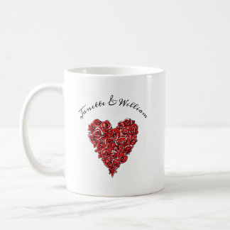 Red Roses Heart Coffee Mug