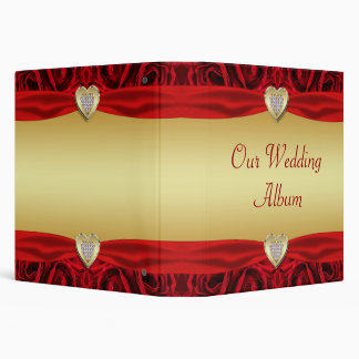 Red Roses & Hearts, Gold & Black Wedding 3 Ring Binder