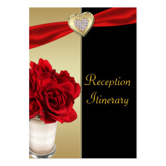 Red Roses & Hearts, Gold & Black Wedding Large Business Card