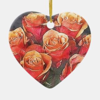 Red Roses Illustration Ceramic Heart Ornament
