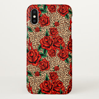 red roses leopard print iphone case