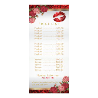 Red Roses Lip Glitter Price List Rack Card