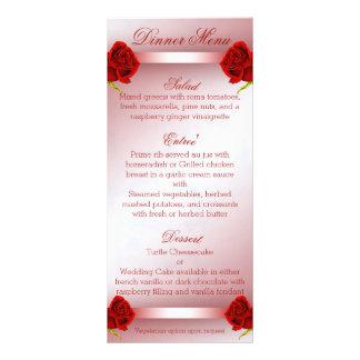 Red Roses Menu Rack Card