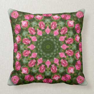 Red Roses Nature, Flower-Mandala Throw Pillow